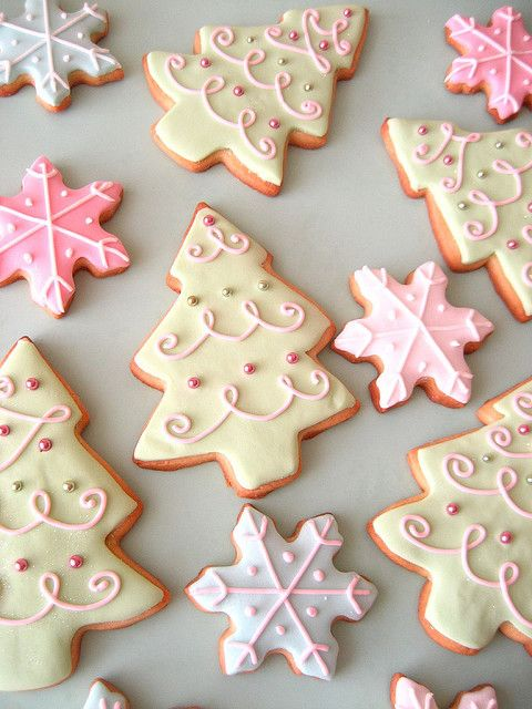 Beautifully iced Christmas tree and snowflake cookies
