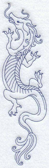 "Climbing Dragon (Bluework) Climbing Dragon (Bluework) Price: $2.99  Size: 2.47""(w) x 9.40""(h) (62.7x 238.7mm) Stitches: 4111"