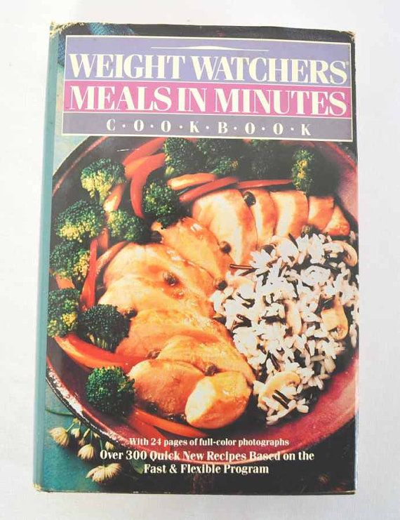1989 Weight Watchers Meals in Minutes by ApronFreeCooking on Etsy, $9.00  Super fast and super easy were the catchwords of the Nineties – and to meet the demands of people on the go, Weight Watchers offers over 300 new high speed recipes     https://www.etsy.com/listing/121528524/1989-weight-watchers-meals-in-minutes