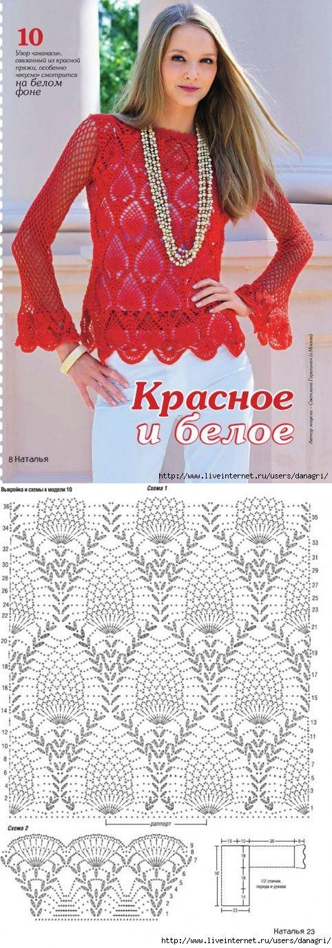 Blusa Vermelha de Crochet.
