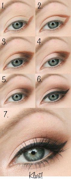 Maquiagem simples com tons de marrom e delineado gatinho <3