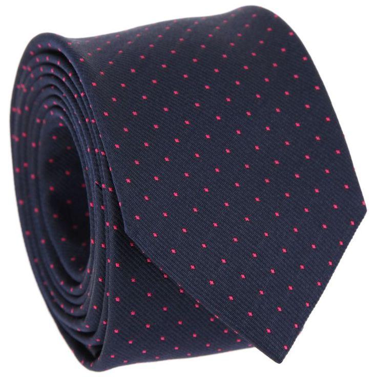 29€ - Cravate bleu marine à pois fuchsia - Washington II