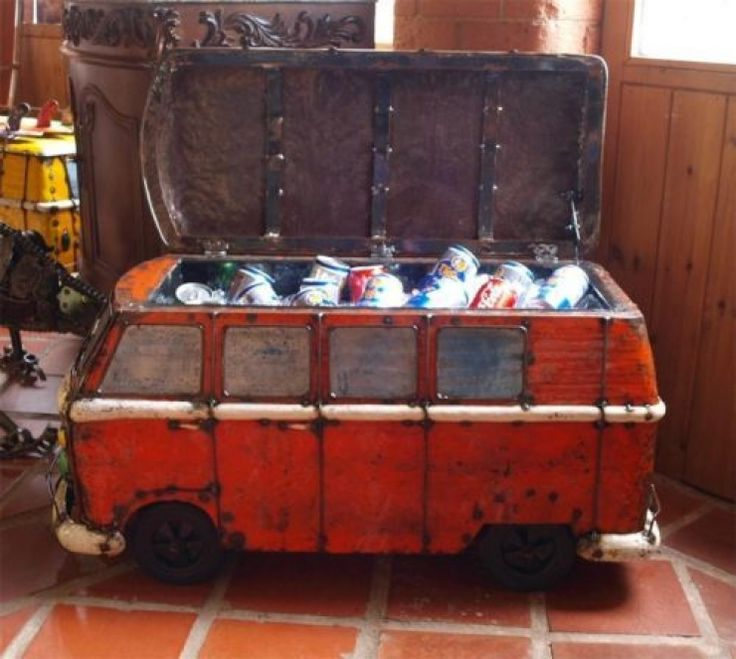 Camper Van Outdoor Drinks Cooler Recycled Oil Drums Think Outside Kool Kombi