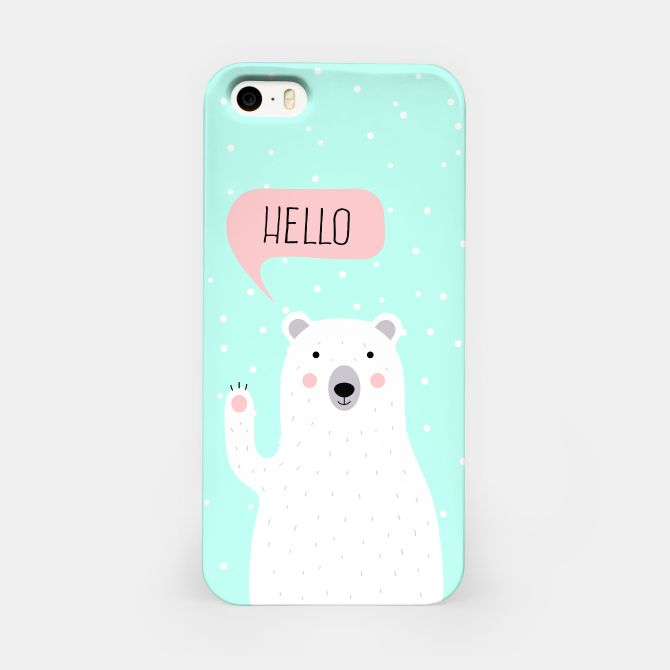 Cute Winter Polar Bear says Hello-  Illustration - DESIGN -  iPhone Case