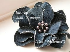 Made from Jeans - great for a hair bow, on a head band, gifts, wreaths, picture frames...Oh I could go on!