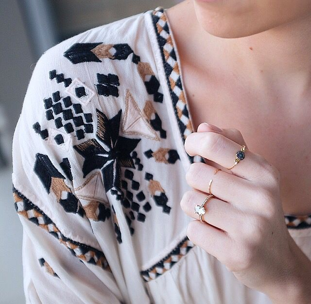 Chrizelle wears our rough diamond ring and gold cuff ring