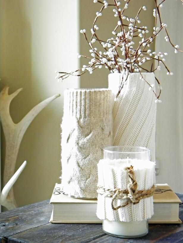 Decorate With an Old Sweater: Winterize your home's decor by covering spring vases and candleholders with sleeves from an old sweater