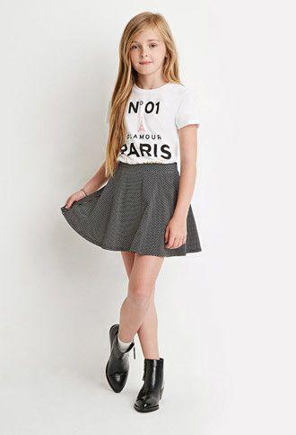 Polka Dot Skater Skirt (Kids) | Forever 21 girls - 2000172995