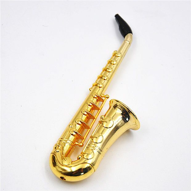 Two Style Small / Big Reggae Saxophone Shaped Metal Smoking Pipe weed metal screen Mouth Tips