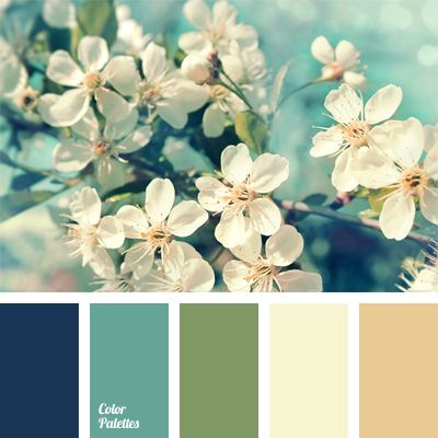Apple blossom Color Palette. Navy blue, blue-green, green, champagne and beige. Love this for my bathroom