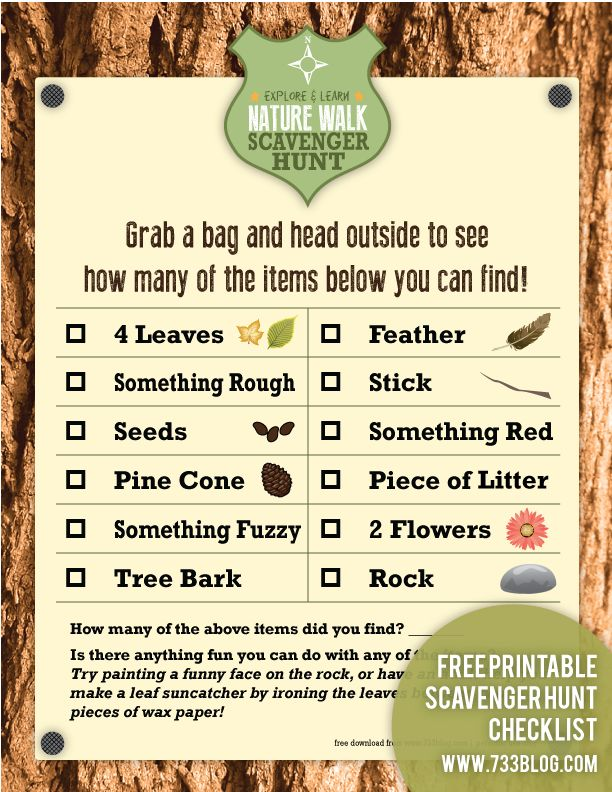 Nature Walk Scavenger Hunt Free Printable