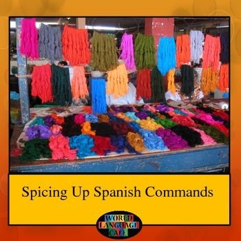 This Spanish Commands, Mandatos, Imperative, Imperativo Unit contains 70 pages of everything you need to spice up teaching the formal and informal Spanish mandatos or commands to your students and to give yourself a break.  Fun Spanish activities and games, quizzes, pamphlet project, writing assignment, homework, classroom decorating activity, Internet practice, station activities, realia readings, grading rubrics, and day-by-day lesson plans, all for Spanish commands.