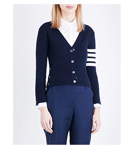 THOM BROWNE Stripe-Detail Cashmere Cardigan. #thombrowne #cloth #knitwear