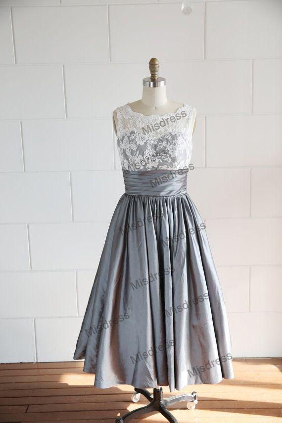 Vintage Inspired V Back Lace Ivory Blue Grey Taffeta Wedding Dress