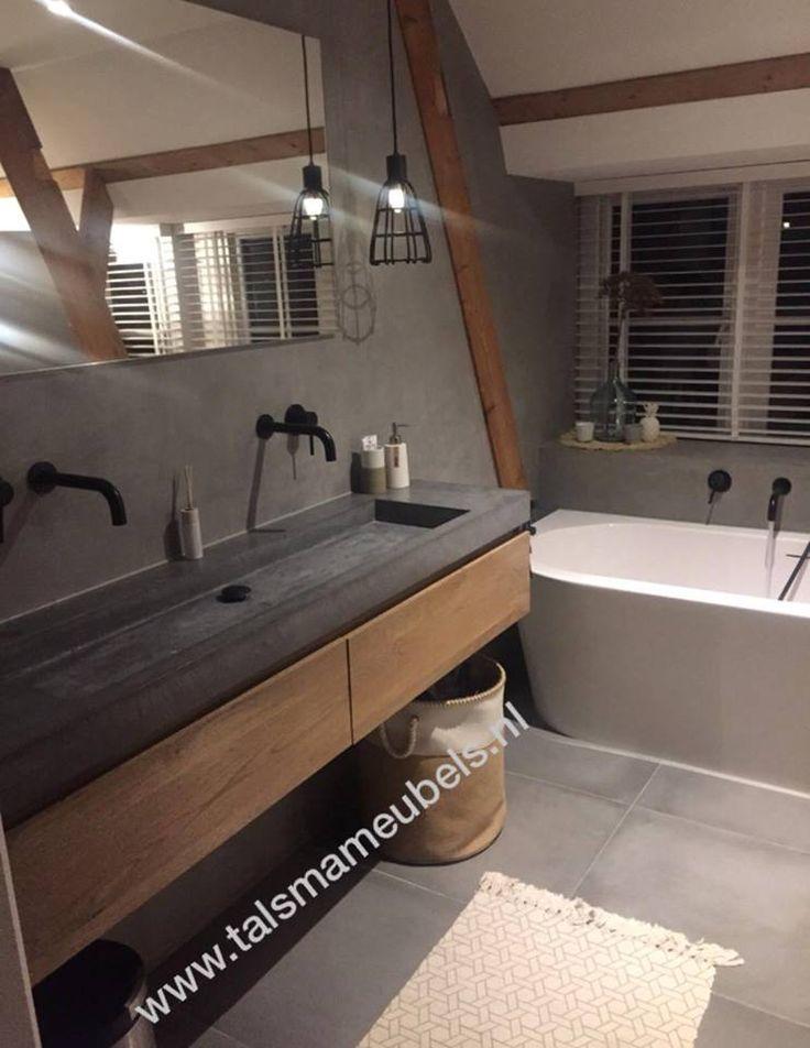 Badmöbel aus Eichenholz mit Waschbecken in Betonoptik. Hergestellt mit Talsma-Möbeln von Friesland