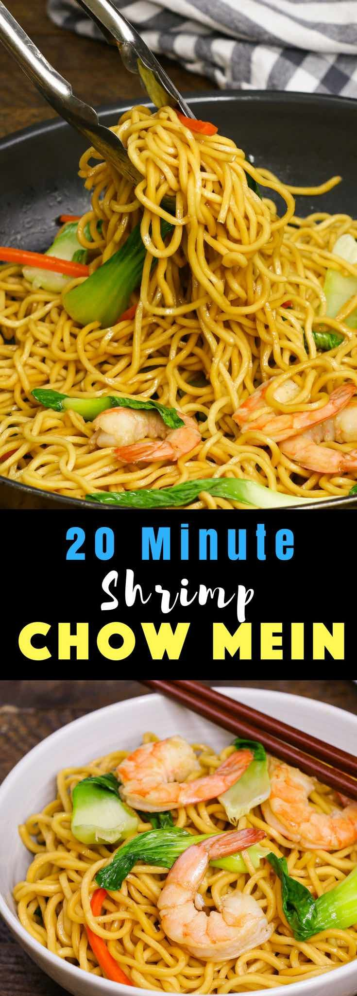 ThisShrimp Chow Mein is a quick and easy one pot meal, loaded with sizzling shrimp, flavorful vegetables and fried noodles. It's so delicious and you will find yourself making it again and again as a quick weeknight dinner! #ShrimpRecipe #ChowMein #ShrimpChowMein