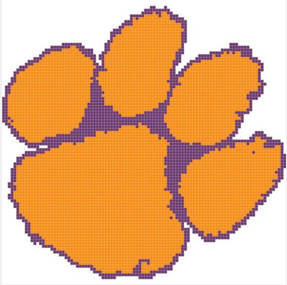 Cross Stitch Pattern Clemson Tigers Paw by TheDaintyCrossStitch