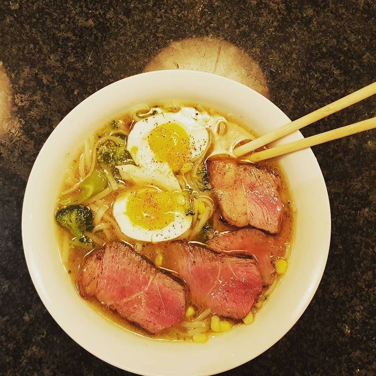 My first shot at a ramen style meal. This worked out pretty good. Home made chicken stock rice noodles broccoli and corn some eggs and some good steak. I want to explore umami next as a flavour. Maybe this is the start of something.