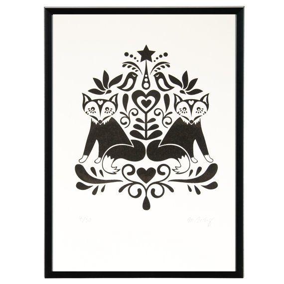 Scandinavian Folk Art Fox limited edition by zedigdesign on Etsy