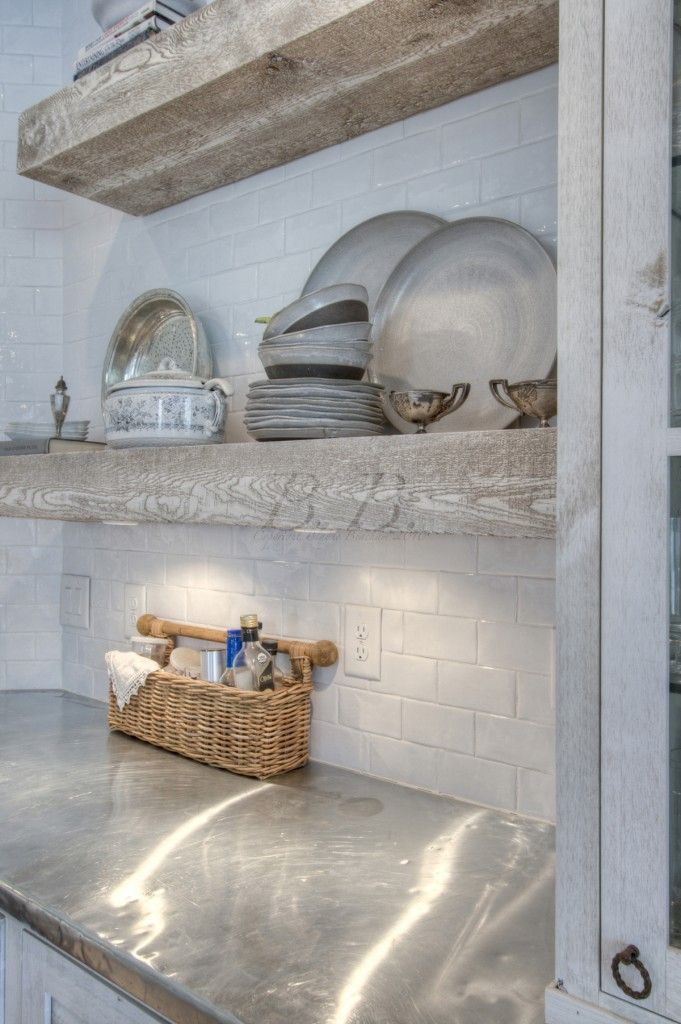Thick wood shelves, aluminum counter