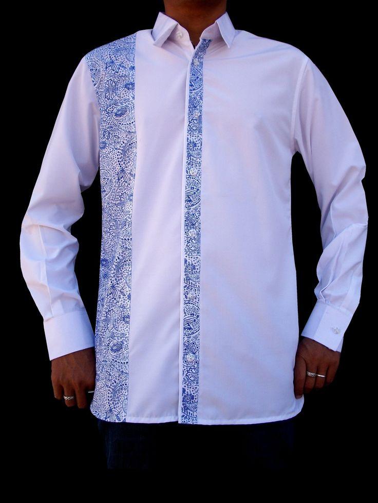 48e0ca5617413 Chemise homme manche longue - Blanc   Bleu   Chemises par leean-collection