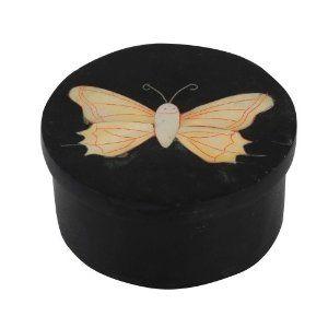 Objet déco - Boite indienne en pierre noire motif papillon: Amazon.fr: Cuisine & Maison