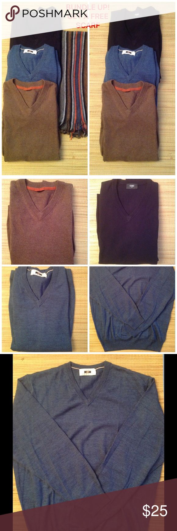 MENS V NEVK LIGHT WEIGHT SWEATERS GORGEOUS MENS V NECK SWEATERS. 3pcs LEFT. 1PC IN DENIM BLUE, 1PC IN BLACK, 1PC IN BROWN. ALL SIZE LARGES. LIGHT WEIGHT. CAN BE WORN AS A LAYERING PIECE OR ALONE. BRAND NEW‼️ BUNDLE UP, BUY 3 OR MORE GET A FREE UNISEX SCARF. Sweaters V-Neck
