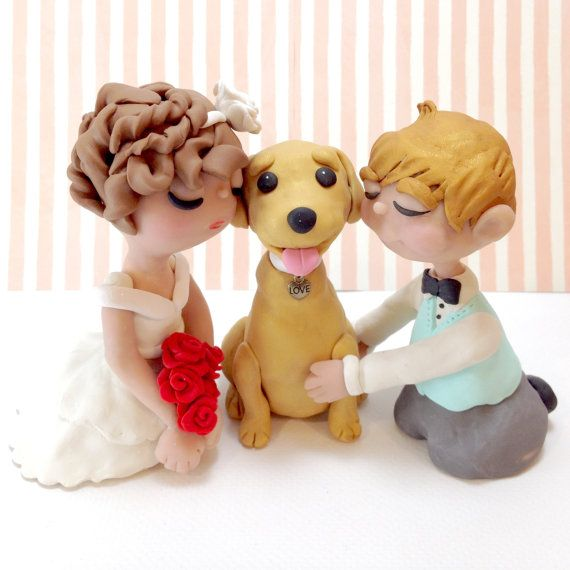 Custom Wedding Cake Topper Bride and Groom with by DogCakeTopper