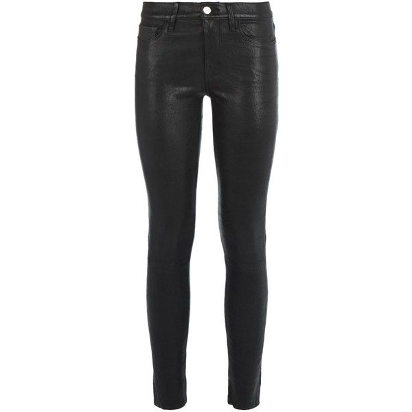 Frame Le Skinny de Jeanne Leather Skinny Jeans ($1,205) ❤ liked on Polyvore featuring jeans, skinny jeans, skinny fit jeans, super skinny jeans, 5 pocket skinny jeans and cropped jeans