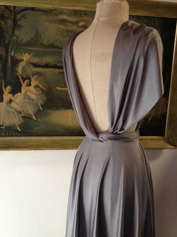 BEAUTIFUL gown. Jaws Pewter- Octopus Infinity Wrap Dress - Bridesmaids, Wedding, Cocktail. $89.99, via Etsy.