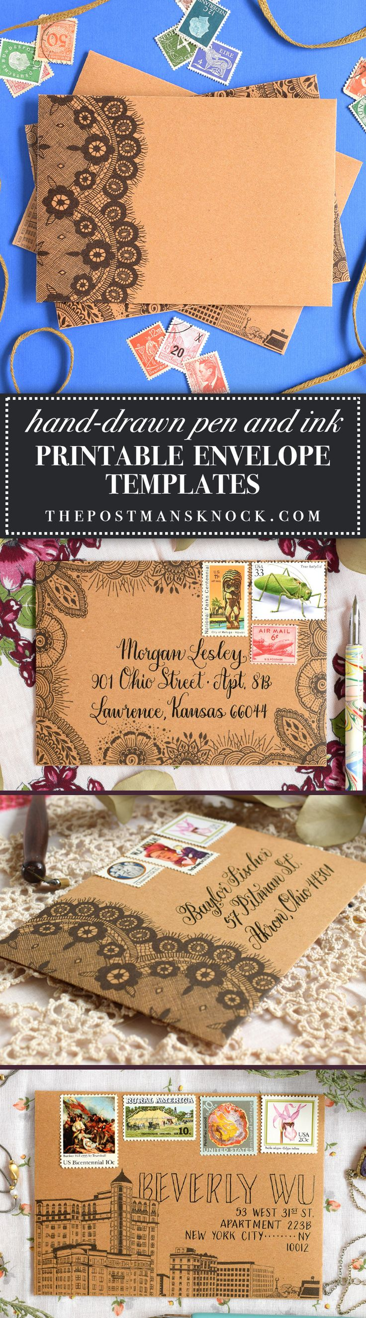 Hand-drawn printable envelope templates - provides a shortcut to intricate and impressive mail art! $4.50 for 3 PDF files