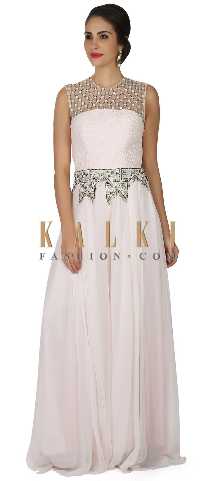 Ice pink jumpsuit embellished in quilting in zardosi only on Kalki