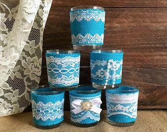 6 rústica arpillera y encaje cubiertos velas por PinKyJubb