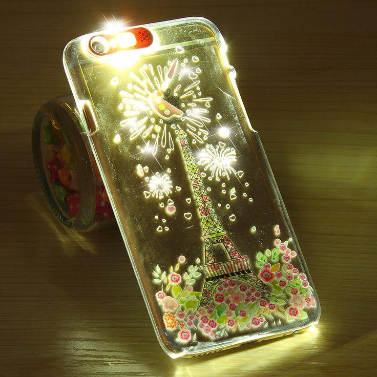 Wywołanie flash przypadki telefonów dla iphone 6 6 s dla 6 6 s plus 5S se sprawa świetlna jasne światła pokrywa dla iphone 6 6 s 4.7 plus 5.5 5S se