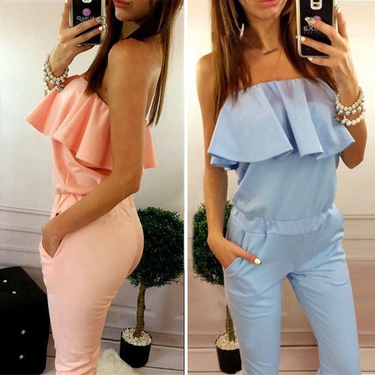 Red ruffles high waist sexy women jumpsuit romper Summer 2016 one piece elegant playsuit Girl pink off shoulder long overalls