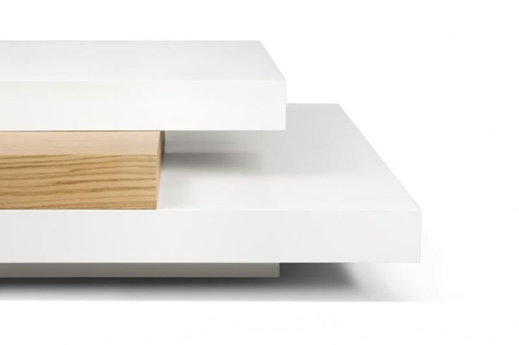 Slate, modern square coffee table in white and oak finish-corner detail
