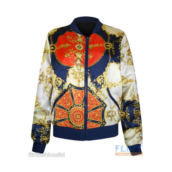 Womens Bomber Jacket Ladies Silk Chain Zip Up Animal Leopard Floral... ❤ liked on Polyvore