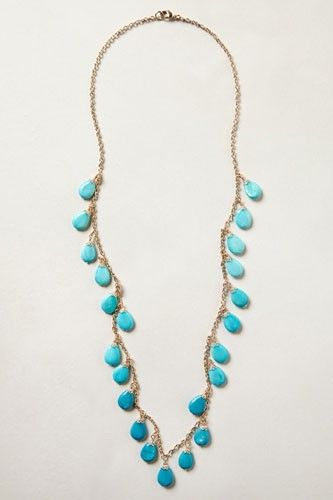 15 Standout Turquoise Baubles #refinery29  http://www.refinery29.com/turquoise-jewelry#slide-2  Anthropologie Spring Signs Necklace, $38, available at Anthropologie....