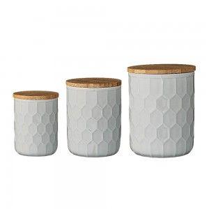 Ceramiczne pojemniki kuchenne z pokrywką, szare - Bloomingville