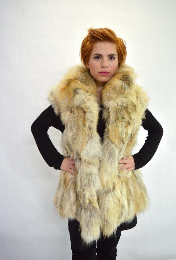 Real fur vest wolf beige fur vest genuine quality fox fur by BeFur