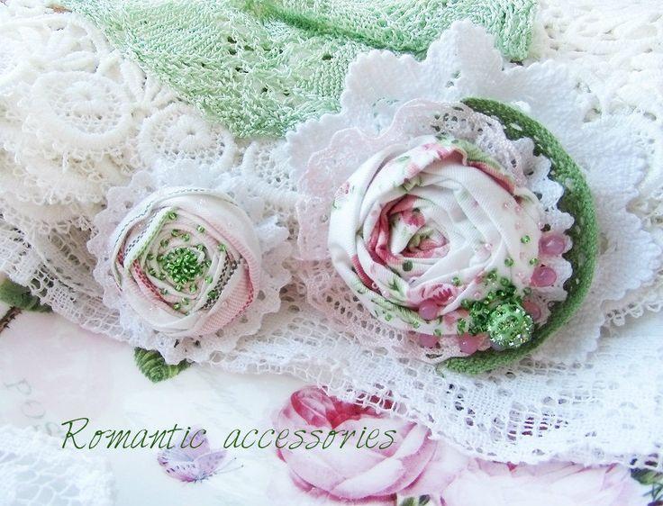 """Купить комплект брошей """"роза,лютик"""" - разноцветный, нежно-розовый, нежное украшение, белый цвет"""