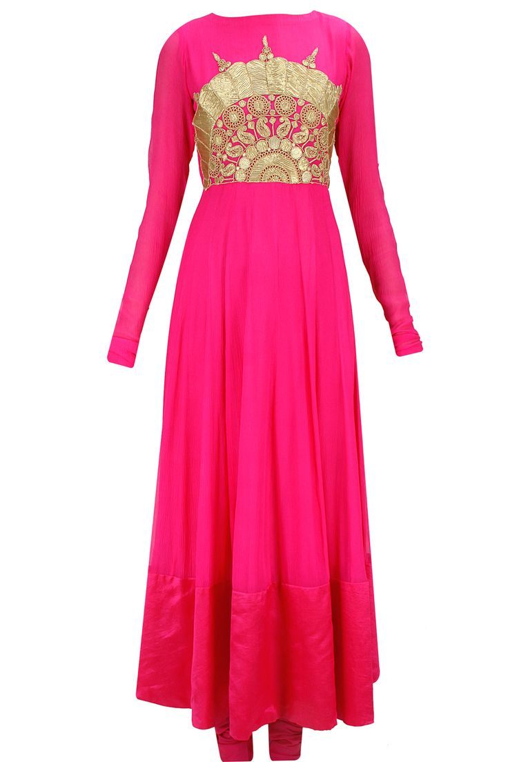 Rani pink embroidered anarkali set with orange bandhej dupatta available only at Pernia's Pop-Up Shop.