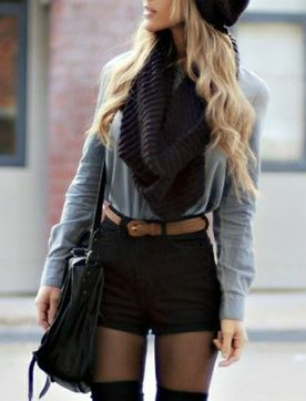 Tights, Knee Highs and Scarves = Fall Uniform