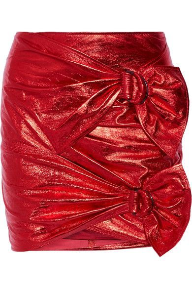 Red leather Concealed hook and zip fastening at back 100% leather (Lamb); lining: 100% cotton Specialist clean Made in France