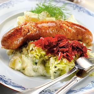 Stekta isterband med dillstuvad potatis