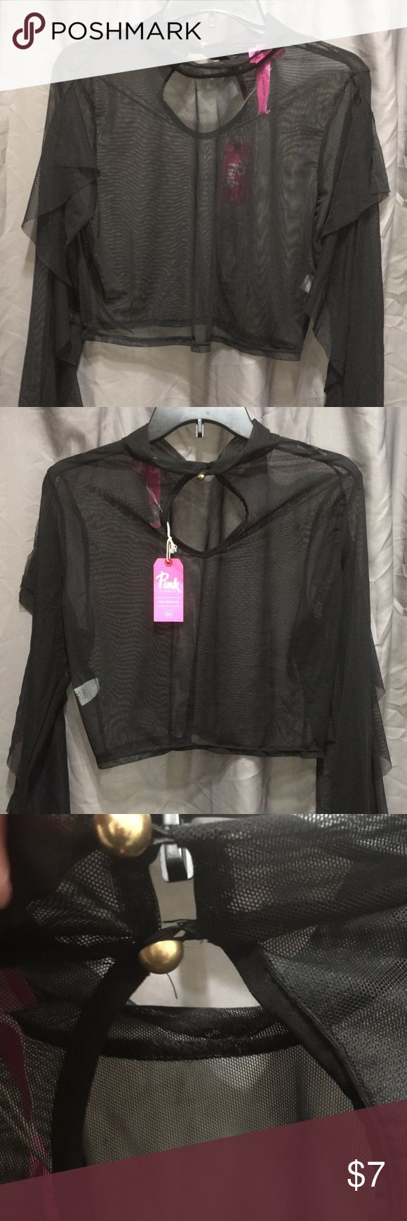 plus sz crop top plus size sexy sheer crop top with flare arms...never worn..this is see thru....great stretch if u normally wear a sz 2x you will be able to rock this tag says plus sz 3x pink clubwear Tops Crop Tops