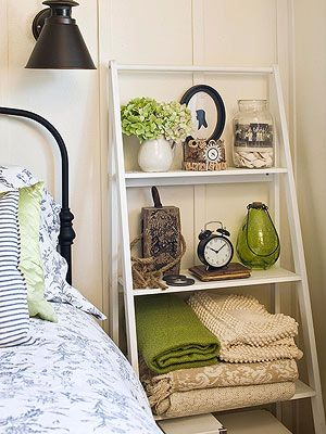 Ladder-Style Shelving -- for books, a clock, little lamp, small house plants, picture frames, pretty nick-knacks jewelry, or extra sheets.