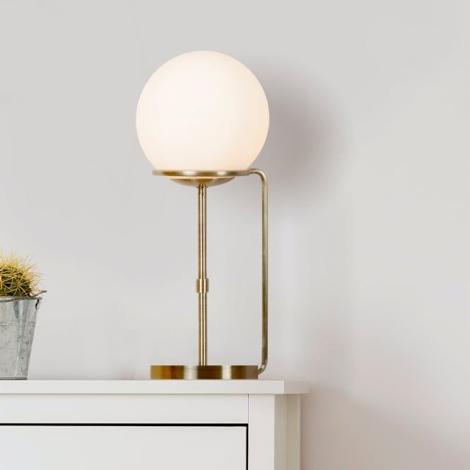 Sphere Single Light Table Lamp In Antique Brass Finish With White Glass Shade Tendencias De Bano Tendencias