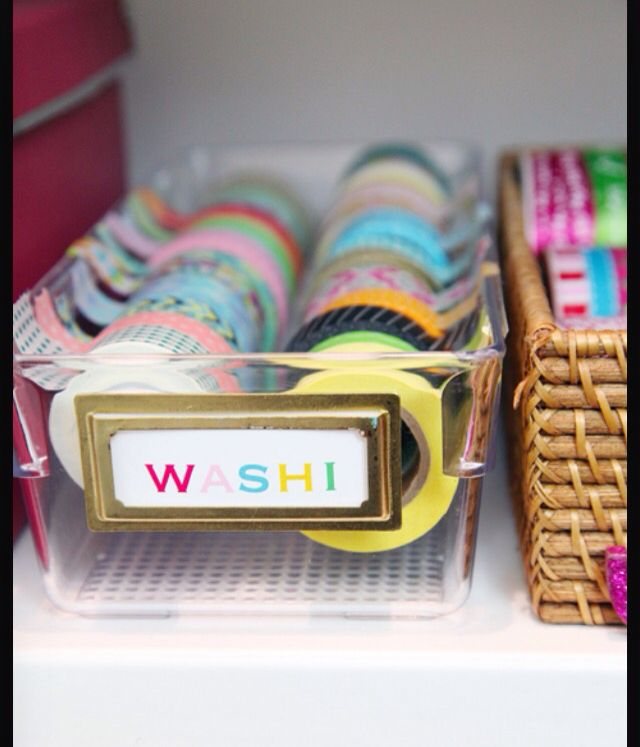 This is not a DIY but I  think it would keep you organized! All you need to do is get a clear container and stick each of your washi tape as so!