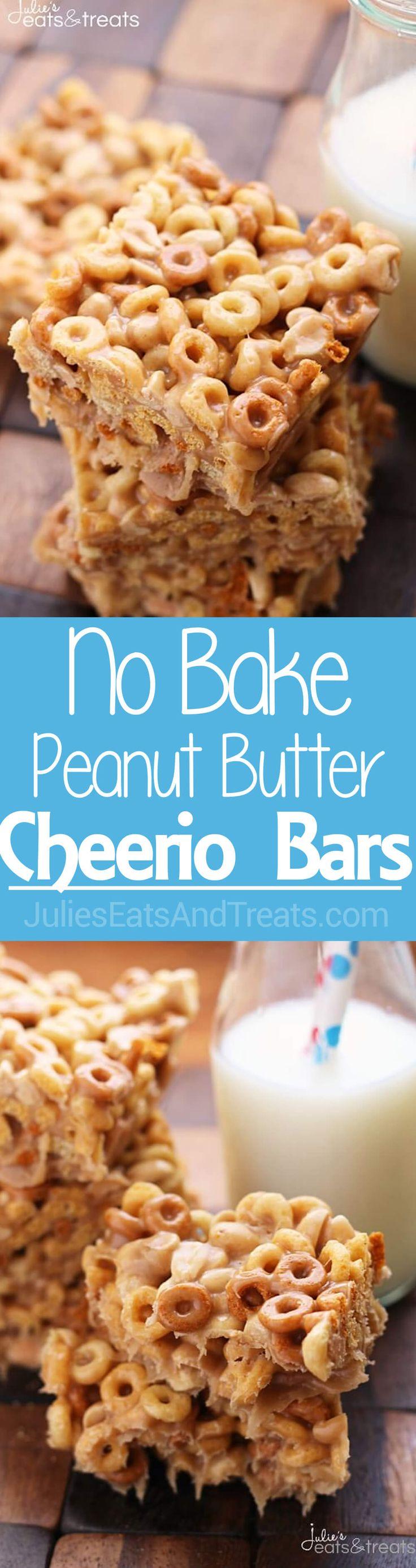 No Bake Peanut Butter Cheerio Bars ~ Ooey, Gooey, Peanut Buttery Bars stuffed with Peanut Butter Cheerios! So Delicious and So Easy! ~ https://www.julieseatsandtreats.com
